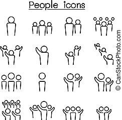 Los íconos de la gente se ponen en una línea delgada