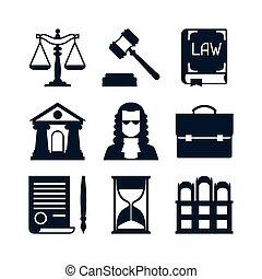Los íconos de la ley en diseño plano.