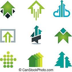 Los íconos de negocios de éxitos verdes