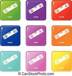 Los íconos de nivel fijaron una colección de 9 colores