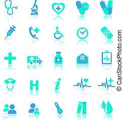 Los íconos de salud azules con reflejo