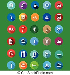Los íconos de viaje se ponen en un estilo plano.