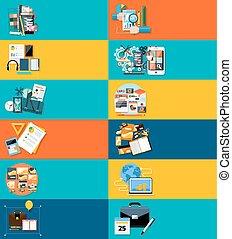 Los íconos ponen carteles para los negocios