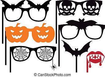 Los accesorios de la cabina de Halloween, vector