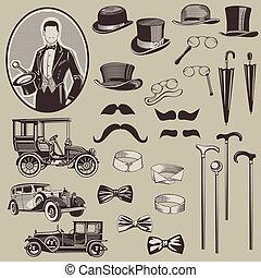 Los accesorios de los caballeros y los coches viejos - el vector establecido - alta calidad