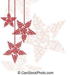 Los adornos de las estrellas rojas de Navidad