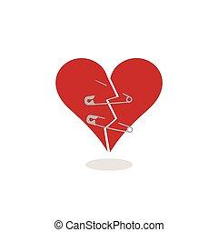 Los alfileres de seguridad para mantener un corazón roto juntos ilustración conceptual