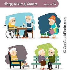 Los ancianos feliz ocio