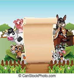Los animales cultivan con un papel en blanco