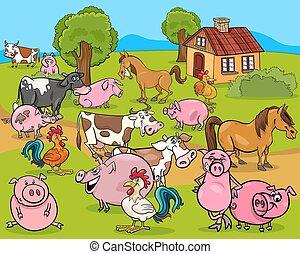 Los animales de granja dibujan dibujos animados