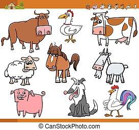 Los animales de granja pusieron dibujos animados ilustrados