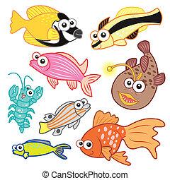 Los animales marinos de cartón con antecedentes blancos