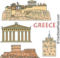Los antiguos griegos viajan puntos de referencia delgados iconos de línea
