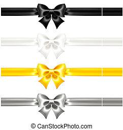 Los arcos de seda son negros y dorados con cintas