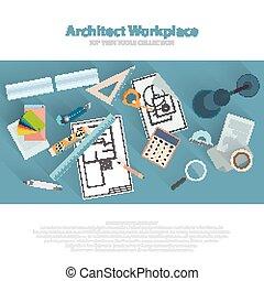 Los arquitectos trabajan en el lugar de trabajo con herramientas arquitectónicas, planos, regla, calculadora, brújula de dividendos. Un concepto de construcción. Estudio de Ingeniería. Vector plano