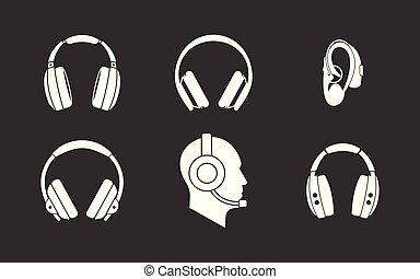 Los auriculares marcan vector gris