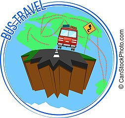 Los autobuses viajan alrededor del mundo. Ilustración de vectores.