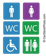 Los baños de mujeres y hombres