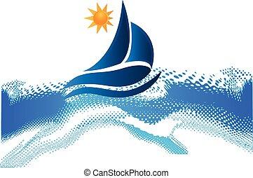 Los barcos ondean el marco de la playa del océano