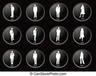 Los botones de Blackberry son hombres de negocios