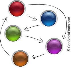 Los botones de estrategia de gestión de diagramas de negocios aislan ilustraciones vectoriales