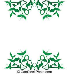 Los brotes de plantas enmarcan la decoración de la frontera