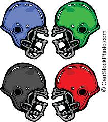 Los cascos de fútbol dibujan ilustraciones de vectores