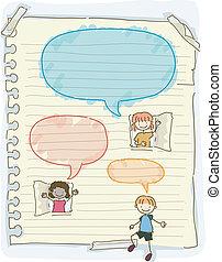 Los chicos con problemas hablan burbujas