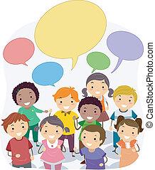 Los chicos de Stickman con burbujas de habla en blanco