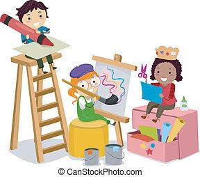 Los chicos de Stickman haciendo artes y manualidades