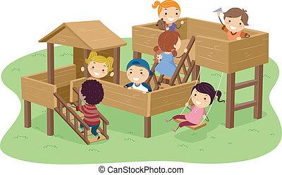 Los chicos de Stickman jugando en el parque