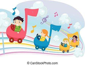 Los chicos de Stickman musicales van en auto