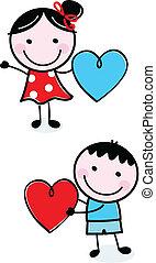 Los chicos guapos sujetan el corazón de San Valentín