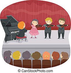 Los chicos hacen un recital musical