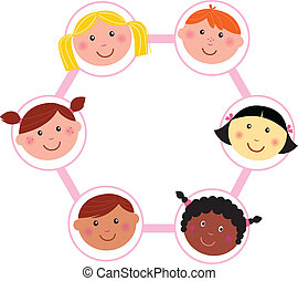 Los chicos multiculturales hacen círculos