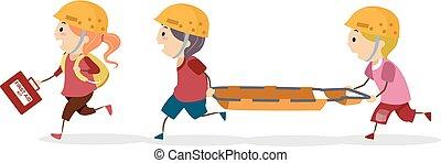 Los chicos Stickman buscan ilustraciones de entrenamiento de rescate