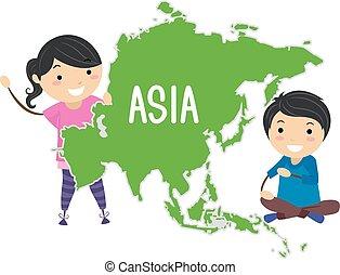 Los chicos Stickman continental ilustran Asia