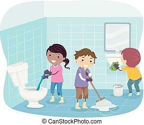 Los chicos Stickman limpian ilustraciones de baño