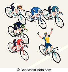 Los ciclistas del grupo de hombres en carreras de bicicletas tienen la carrera ganadora. Ilustrador de vectores.