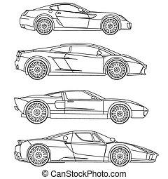 Los coches deportivos marcan coloración vectorial