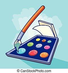 Los colores palidecen con pintura y hojas de pincel