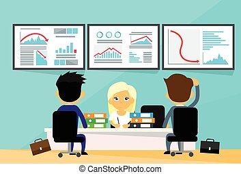 Los comerciantes de oficinas de oficinas de oficinas financieras de crisis financiera las computadoras financian gráficos caen de moda negativa