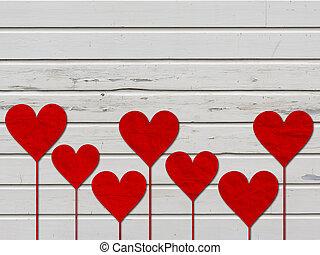 Los corazones adoran la madera de San Valentín