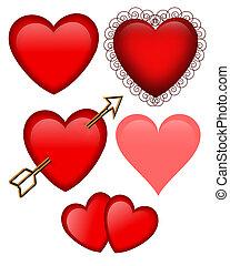 Los corazones de San Valentín están aislados