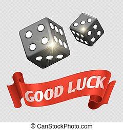 Los dados de casino realistas y la bandera roja de la buena suerte