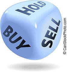 Los dados financieros del mercado de valores compran un agujero de venta