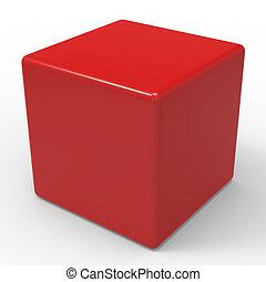 Los dados rojos en blanco muestran cubículos o caja
