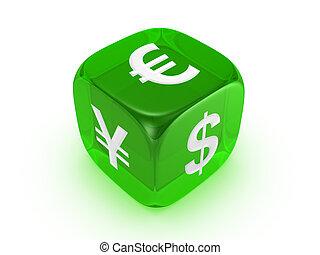 Los dados verdes translúcidos con señal de moneda