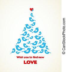 Los deseos de Navidad, el pájaro azul con corazón en la parte superior