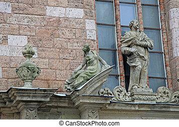 Los detalles de la iglesia de St. Peter en riga, Letonia